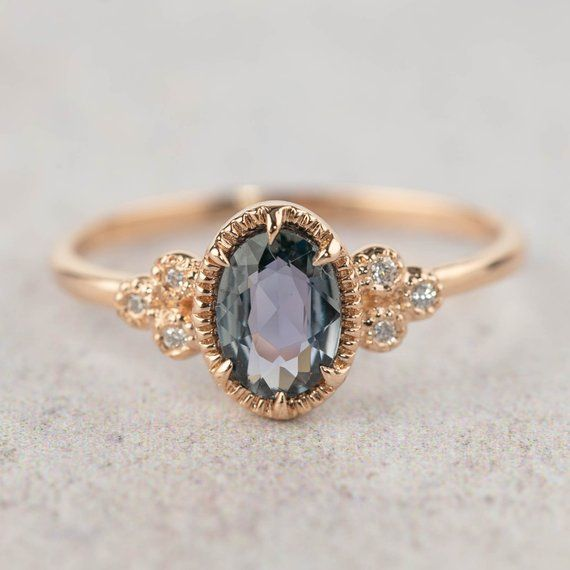 Unheated natural teal sapphire diamond ring, oval peacock sapphire engagement ring, 14k rose gold, unique greenish blue