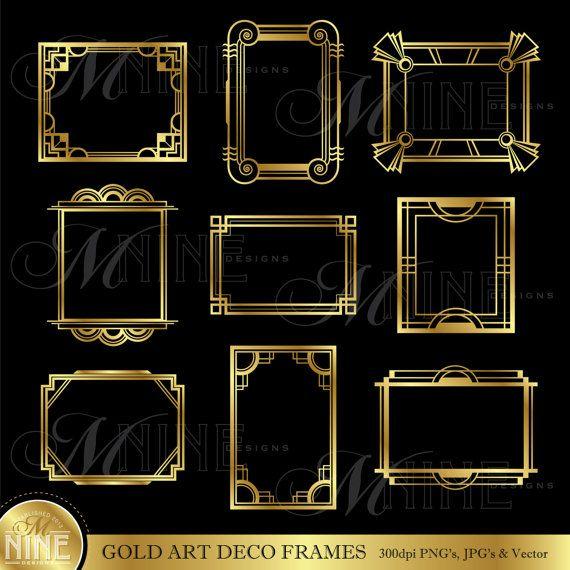 Or ART déco image Clip Art : Art déco cadres Design éléments déco frontières Clipart, téléchargement immédiat