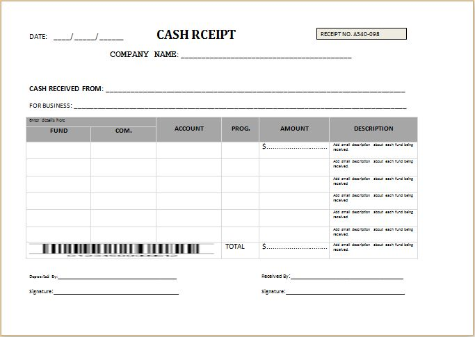 advance cash receipt template at    wwwtemplatesword - cash receipt template