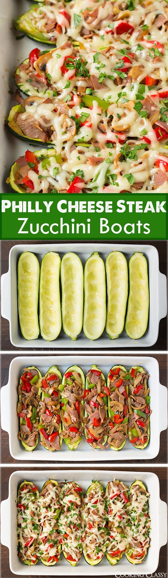Philly Cheese Steak Zucchini Boats - a delicious low carb alternative to the classic philly cheese steak! Comfort food made healthy.