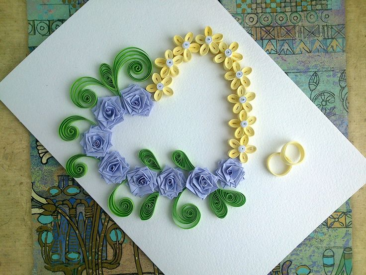 Paper Wedding Cards: make paper Quilling Wedding Card with