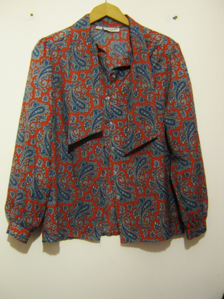 Vintage paisley shirt with bow collar, for sale at Blackhouse Thriftage on Facebook!  https://www.facebook.com/photo.php?fbid=390357564411637=pb.357110221069705.-2207520000.1369053582.=3