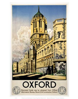 Oxford- Vintage Railway Posters. Buy Here: http://www.vintagerailposters.co.uk/Photo/127-Oxford-GWR-Colleges#.Uuaa_hBFCM8