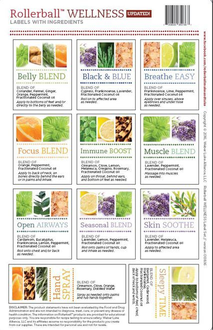 Rollerball Wellness Make and Take Essential Oil Workshop Kit Label Sheet from got oil supplies