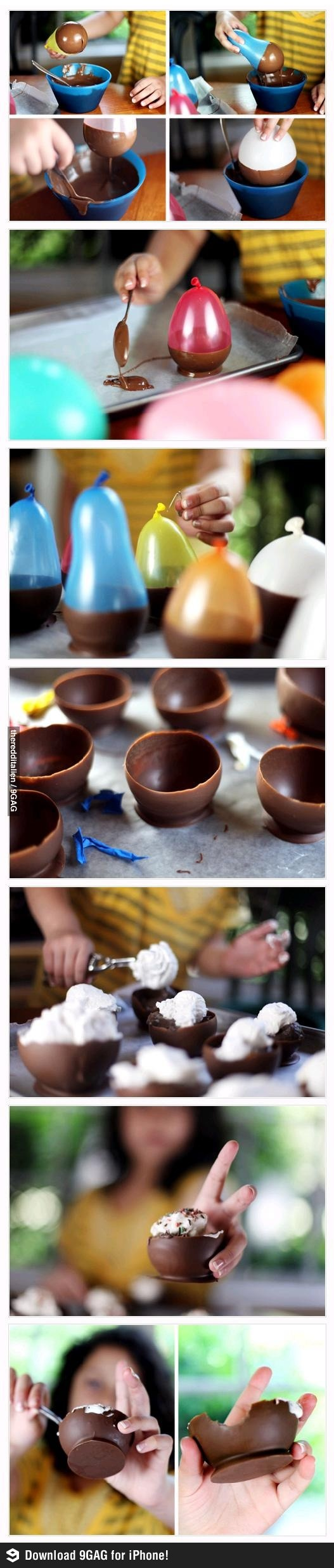 OMG little chocolate bowls for ice cream or something