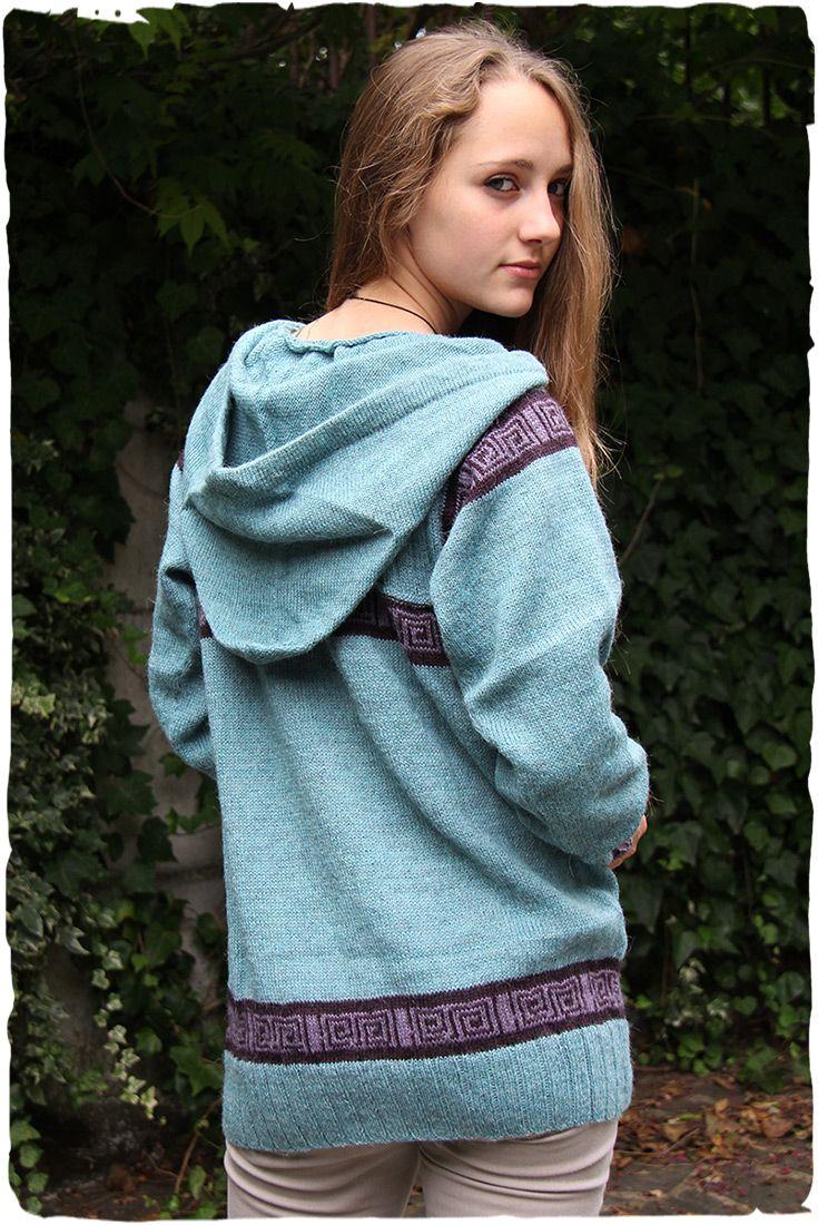 Maglione di lana con cappuccio