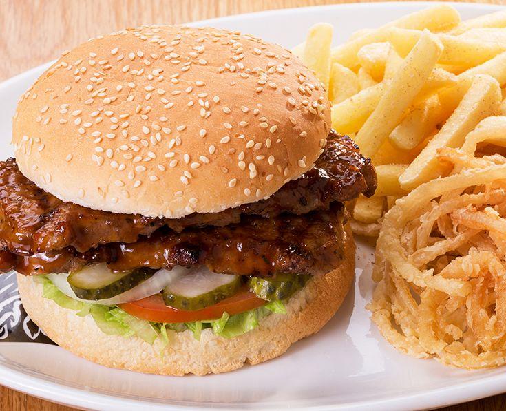 Rib Burger: Basted pork rib burger patties (2 x 100g).  Read more: https://www.spur.co.za/menu/burgers/