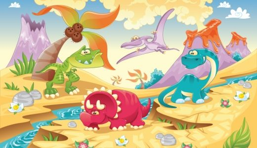 Cartoon Dinosaur Wall Mural Easy To Replicate For Boys