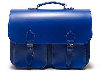 cartable bleu cobalt en cuir