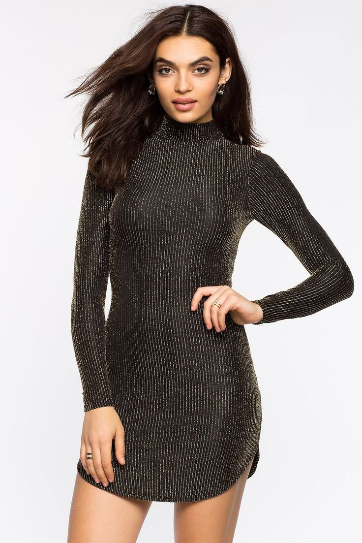 Lurex Stripe Mock Dress
