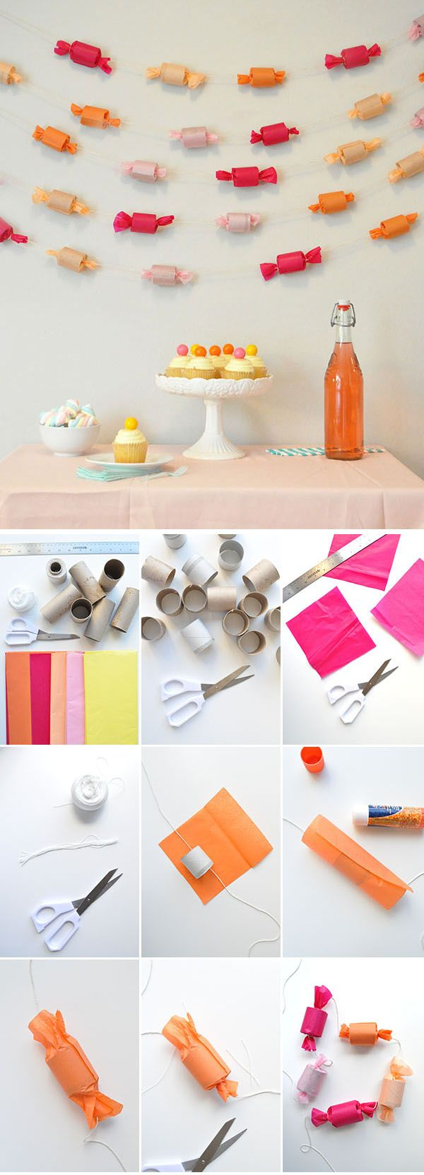 DIY candy garland - tutorial at Oh Happy Day