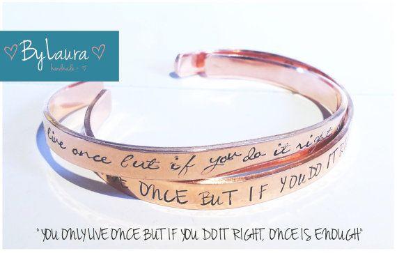 Koperen armband met tekst / Copper cuff with inspirational quote