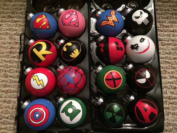 This listing is for ALL 16 ornaments photographed. This includes Super-Man, Super-Girl, Wonder Woman, The Punisher, Robin, Batman, Harley, The Joker,
