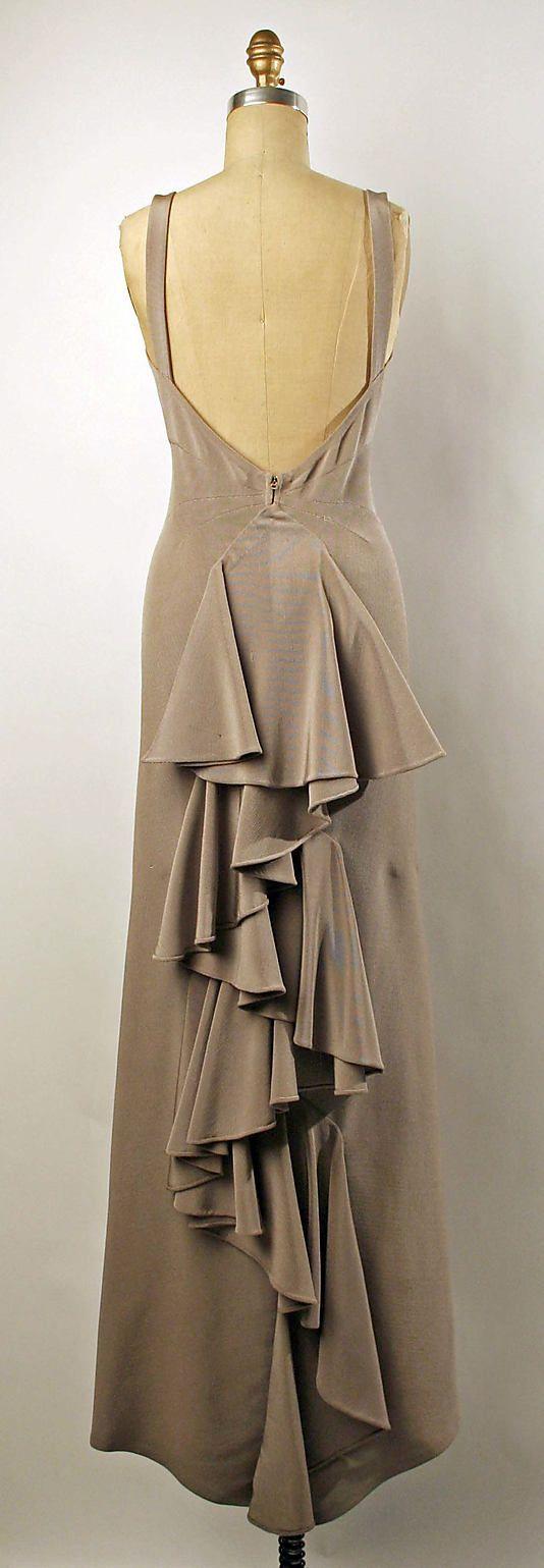 Valentina Dress - back - c. 1935 - by Valentina (American, born Russia, 1899-1989) - Silk, wool - @Mlle