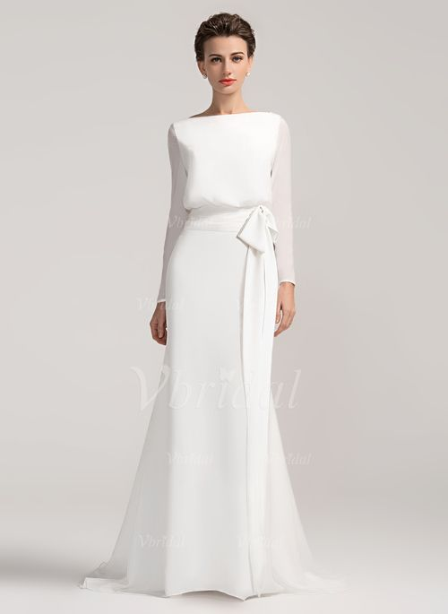 Wedding Dresses - $147.66 - Sheath/Column Scoop Neck Court Train Chiffon Wedding Dress With Bow(s) (0025057323)