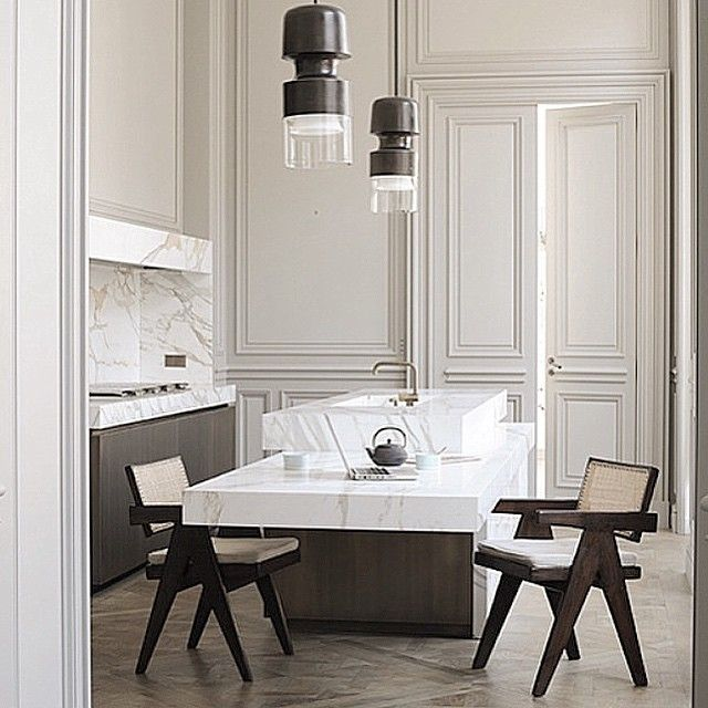 Tea for two #Frenchstyle ... Pure elegance and modern simplicity meet 19th century Haussmann architecture seamlessly in the Parisian kitchen. #DesignAndDecoration