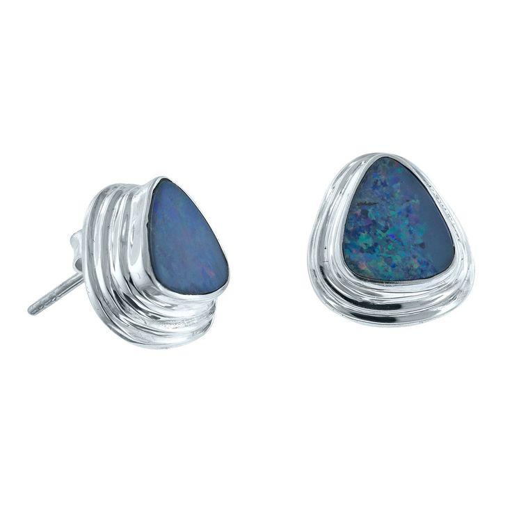 Freeform Trillion Australian Opal Doublet Stud Earrings