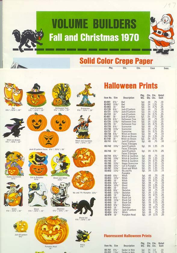 1970 dennison halloween decorative prints line catalog