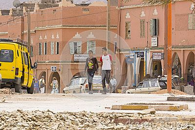 Side dirty and destroyed street  citie Taroudant in Morocco