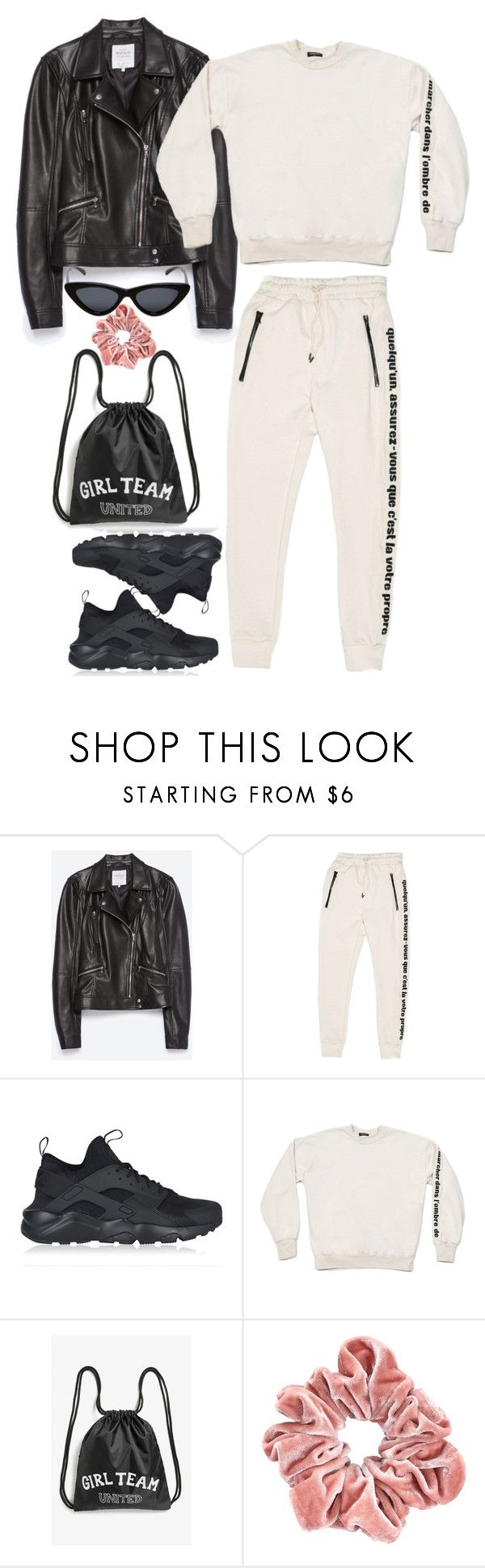 """""""airport attire"""" by francesca-valentina-gagliardi ❤ liked on Polyvore featuring Zara, NIKE, Monki and Le Specs"""