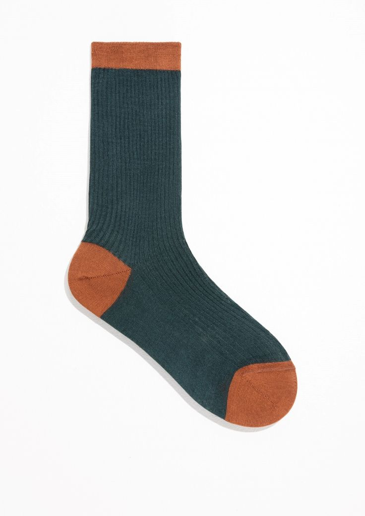 & Other Stories Silk Socks in Petrol Blue
