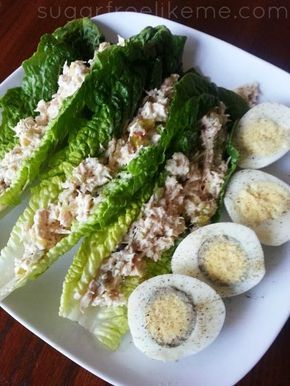 Romaine Lettuce Leaf Tuna Salad Wraps white tuna, boiled eggs, chopped baby spinach, chopped celery, mayo, dill relish, and 1 packet of Stevia sweetener. Sometimes I might also add a bit of chopped apple and pecans or walnuts.