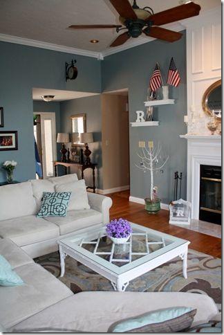"valspar ""blue twilight"". I love this whole room."
