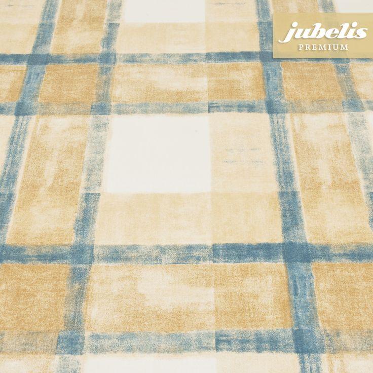 jubelis® | Beschichtete Baumwolle abwaschbar Pablo blau-beige H