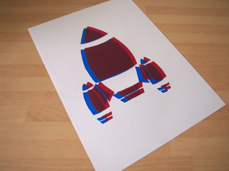 ©Helen J Taylor Rocket blue and red overlay screen print
