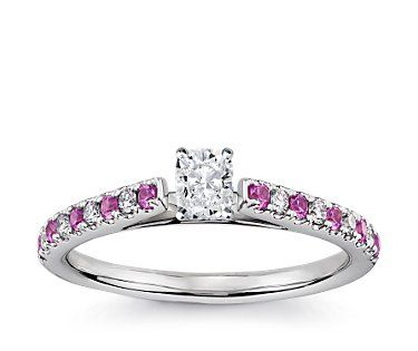 Pavé Pink Sapphire and Diamond Petite Cathedral Engagement Ring in 14k White Gold #BlueNile #Engagement