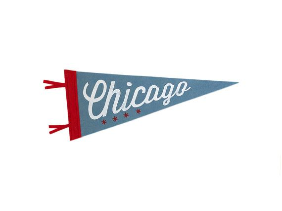 Chicago Souvenir Pennant - Vintage Inspired -  Blue, Red, and White