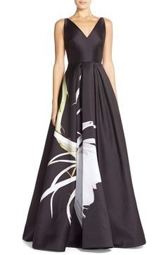 ML Monique Lhuillier Floral Print Twill Ballgown available at #Nordstrom