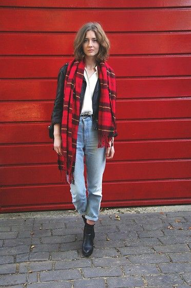Topshop Mom Jeans, Mr Shoes Boots, H&M Tartan Scarf, Warehouse Leather Jacket, Charity Shop Shirt-love the jeans
