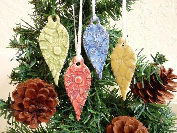 Ceramic Lace Teardrop Ornament Set of Four Handmade Pottery Holiday Christmas Decoration. $16.00, via Etsy.