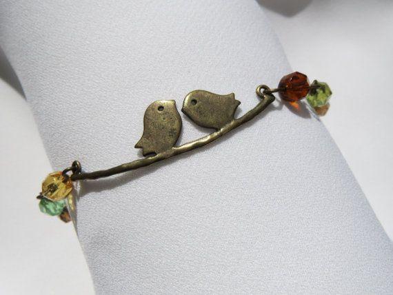 Bird Charm Bracelet  Lovebirds  Beads  Earth Color  by Thielen, $16.50