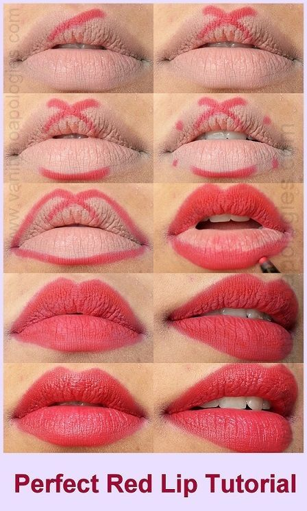 "Define your cupid's bow with lip liner by creating an ""X"" shape. Doing this before lipstick will enhance your lip shape and ensure lipstick stays on longer."