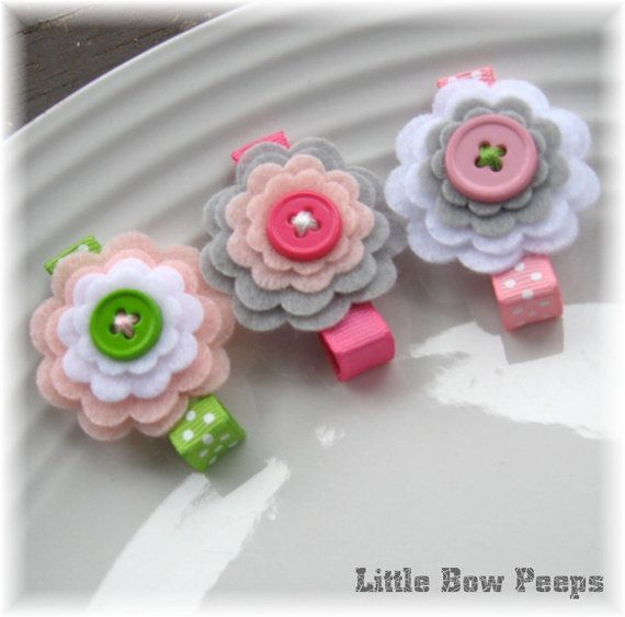 Tutu Chic Pink Spring Layered Felt Flower Hair Clip Trio Set of 3 Pink Grey & White Non Slip Hair Clips with Button