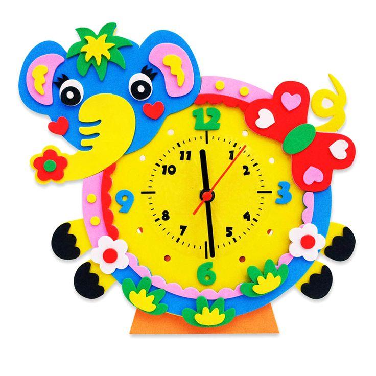 Handmade DIY 3D Animal Learning Clock Kids Crafts Educational Toy