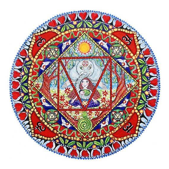 1st Chakra Mandala art Print Base Chakra Mooladhara earth element yoga art meditation poster seven chakras art