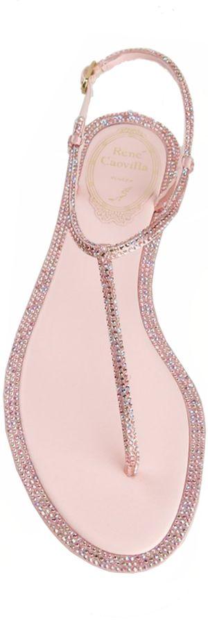 RENE CAOVILLA Embellished Flat Sandal Pink