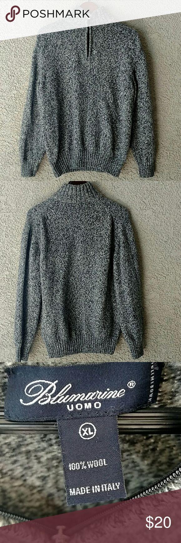 Men's Wool Half Zip Sweater by Blumarine Uomo A 100% wool men's half zip sweater by Blumarine Uomo. Made in Italy this sweater is in EXCELLENT CONDITION! Blumarine Sweaters