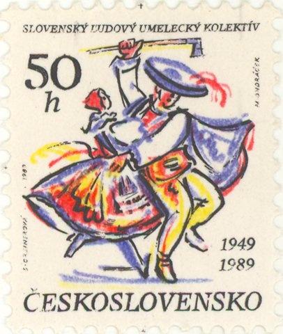 1989 Czechoslovakia - Couple folk dancing