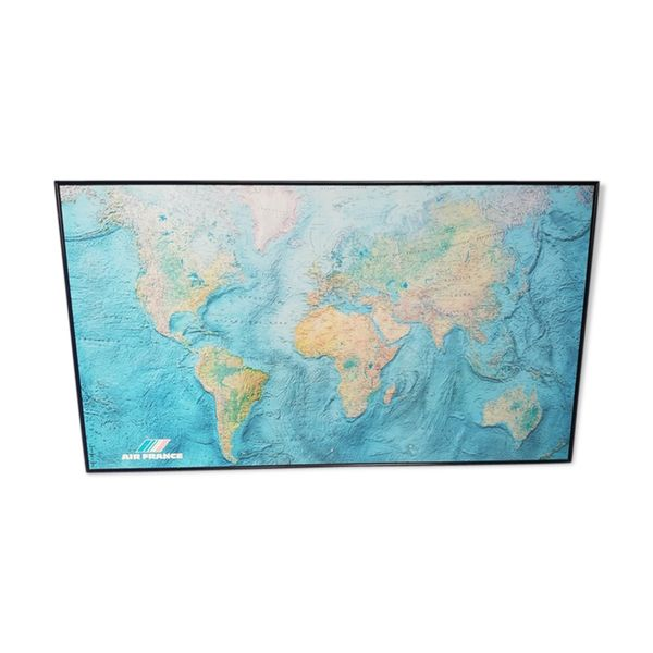 Planisphere carte du monde IGN Air France vintage 1980 ...