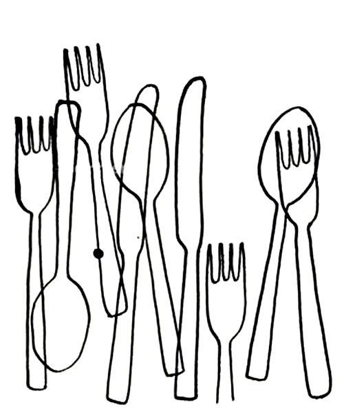 Line Drawing Knife And Fork : Simple line drawing of everyday objects contour