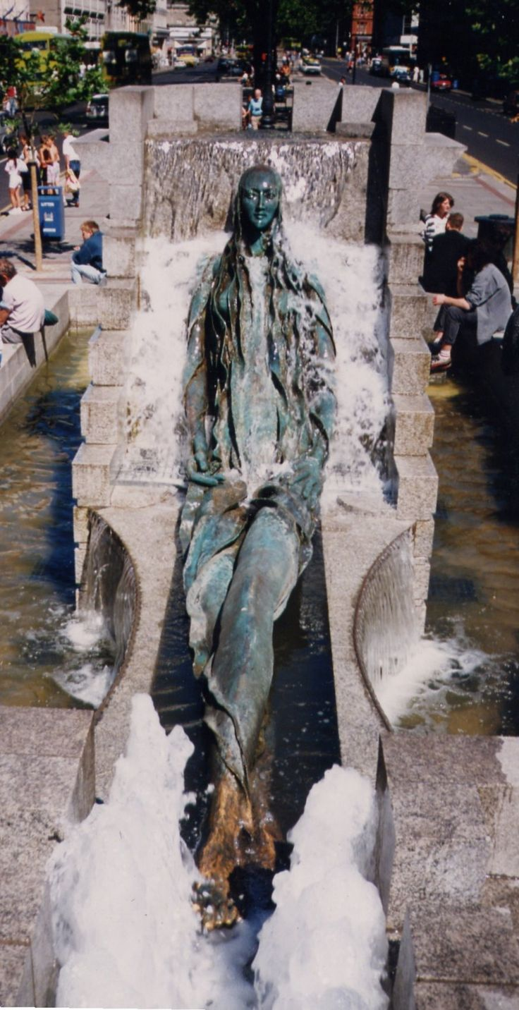 "Fountain in Dublin representing Anna Livia Plurabelle, representation of River Liffey. a character in ""Finnegans Wake"". in O'Connell Street, Dublin, Ireland."