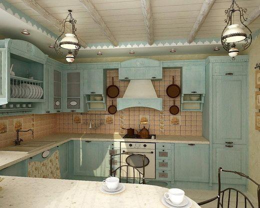 Дизайн интерьера коттеджа в стиле Прованс. Кухня