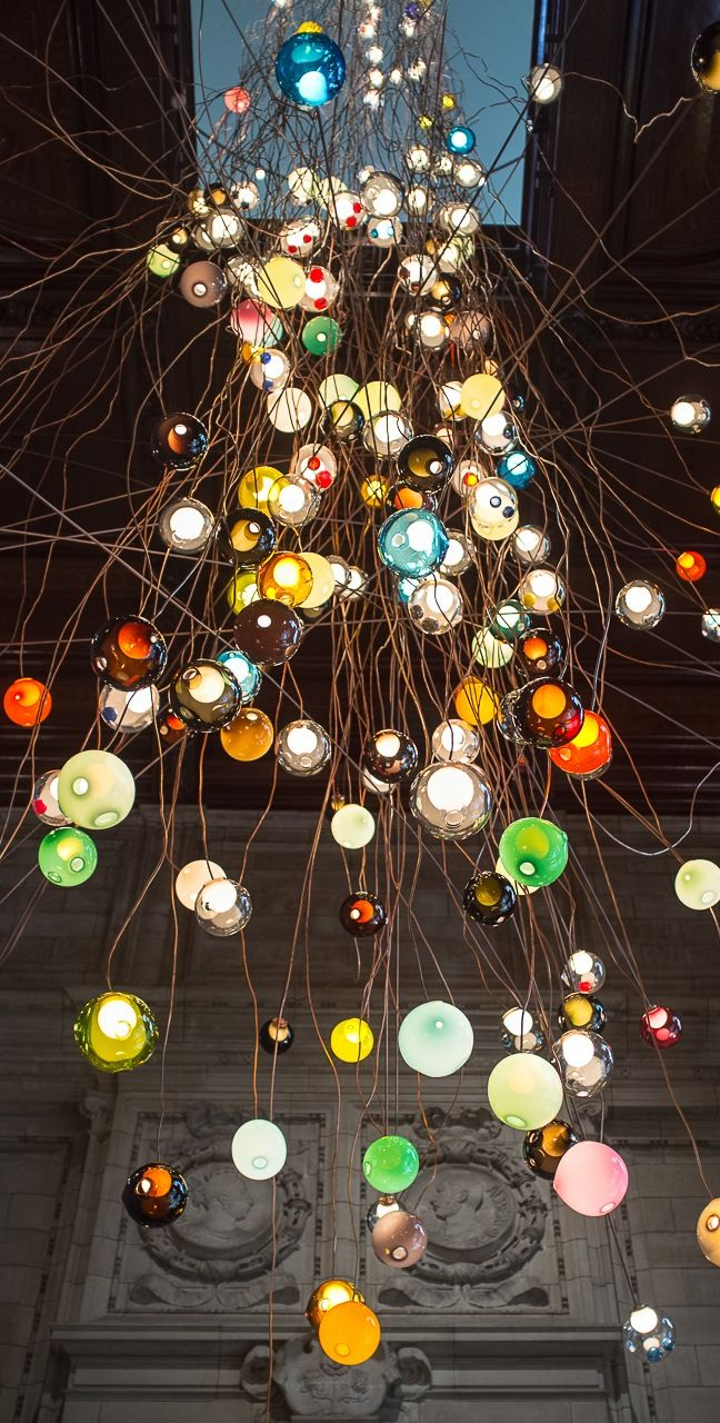 Bocci - 28.280 - 30M tall contemporary chandelier by Omer Arbel for the V&A Museum and London Design Festival 2013 - LDF2013