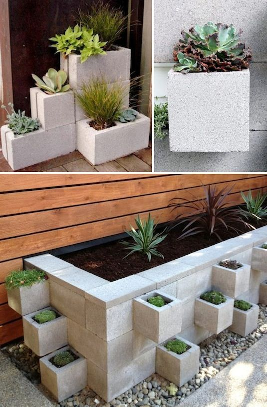 Stacked cinder blocks have readymade compartments that are ideal for a variety of plants. You can stack and build them to create a wall or fit a custom space.