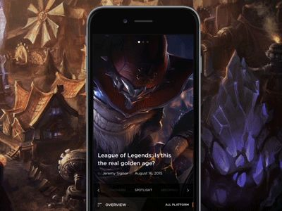 GameSpot app UI - spotlight screen. Menu and slider animation/interaction. Full project: https://www.behance.net/gallery/30066203/GameSpot-Mobile-App