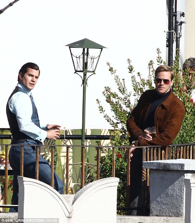 The making of 'The Man from UNCLE'- the movie, Henry Cavill (as Napoleon Solo) and Armie Hammer( as Illya Kuryakin).
